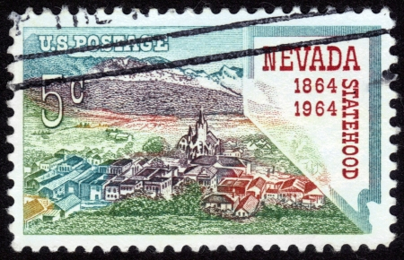 USA - CIRCA 1964: A stamp printed in the USA shows Nevada statehood, 1864-1964, circa 1964 Stock Photo - 14264283