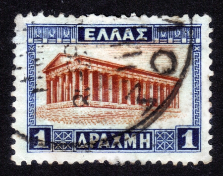 GREECE - CIRCA 1927: A stamp printed in Greece shows Temple of Hephaestus, Athens, circa 1927 Stock Photo