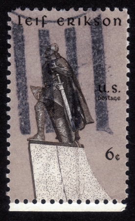 erikson: UNITED STATES OF AMERICA - CIRCA 1968: a stamp printed in the U S A shows statue of Leif Erikson Norse explorer, by Stirling Calder, circa 1968 Stock Photo