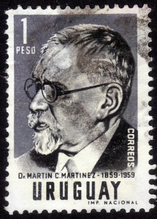 martinez: URUGUAY - CIRCA 1959: stamp printed by Uruguay, shows Martin C. Martinez, a lawyer and political figure in Uruguay, circa 1959 Editorial