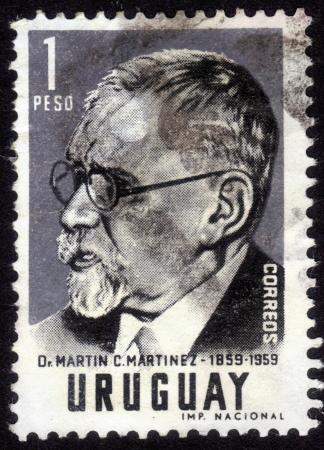 martinez: URUGUAY - CIRCA 1959: stamp printed by Uruguay, shows Martin C. Martinez, a lawyer and political figure in Uruguay, circa 1959 Editorial
