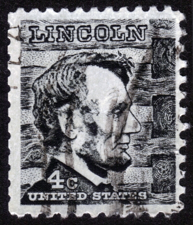 USA - CIRCA 1930: A stamp printed in USA shows Abraham Lincoln was the 16th President of the United States, circa 1930. Stock Photo - 14296347