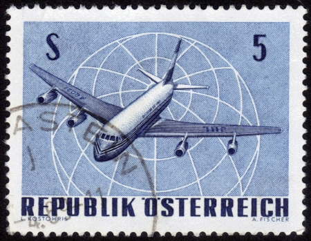 AUSTRIA - CIRCA 1960: A stamp printed in Austria, shows a Four-engine Jet Airliner , circa 1960 photo