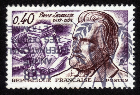 France - CIRCA 1968: A  stamp printed in France, shows Pierre Larousse , was scholar, writer, educator, linguist, lexicographer and publisher , circa 1968 Stock Photo - 14296351