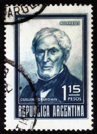 ARGENTINA - CIRCA 1960: A stamp printed in Argentina showing Guillermo Brown, First Admiral of Argentina, circa 1960