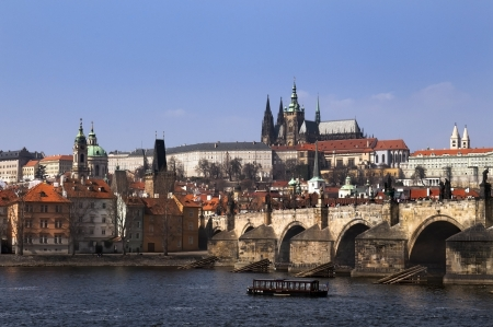 view of the mysterious medieval Prague from the Vltava River and Charles Bridge Stock Photo