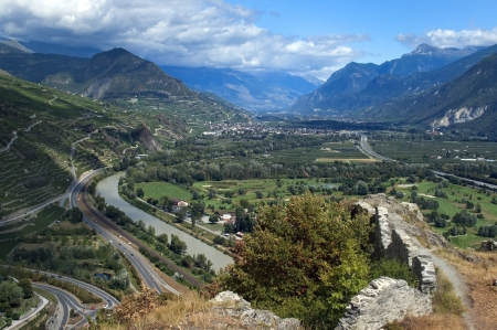 view of the fertile valley in the Swiss Alps Stock Photo - 14304193