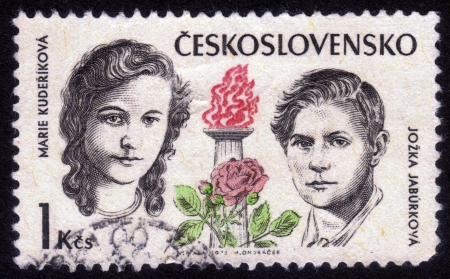 CZECHOSLOVAKIA - CIRCA 1973: A stamp printed in Czechoslovakia shows portraits Kuderikova Marie and Jozka Jaburkova, they were fighters against fascism, circa 1973 Stock Photo - 14296352