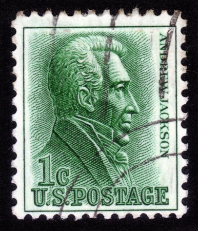 UNITED STATES OF AMERICA - CIRCA 1963: A stamp printed in the United States shows image of Andrew Jackson, the seventh President of the United States, circa 1963 Stock Photo - 14296345