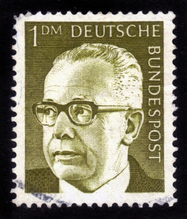 bundes: GERMANY - CIRCA 1971: A stamp printed in Germany showing a portrait of Federal President Gustav Walter  Heinemann, circa 1971.