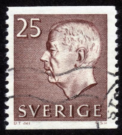 SWEDEN - CIRCA 1970: A stamp printed in Sweden shows Gustav VI Adolf, King of Sweden, circa 1970 Stock Photo - 14326657