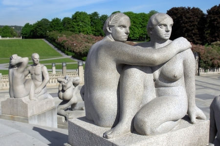 naked statue: OSLO, NORWAY - May 28: Statues in Vigeland park in Oslo, Norway on May 28, 2008. installed in the park 212 bronze and granite sculptures created by Gustav Vigeland.