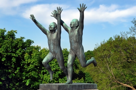 OSLO, NORWAY - May 28: Statues in Vigeland park in Oslo, Norway on May 28, 2008. installed in the park 212 bronze and granite sculptures created by Gustav Vigeland.