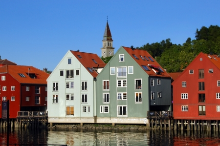 Trondheim , Norway : Typical houses on the river Nidelva ,Trondheim  founded by the Vikings, is the third largest city in Norway Stock Photo