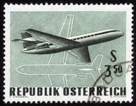 AUSTRIA - CIRCA 1960: A stamp printed in Austria, shows a Two-engine Jet Airliner , circa 1960 Stock Photo - 14332595