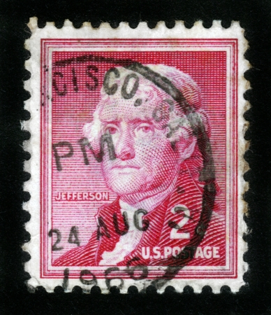 USA - CIRCA 1966: A post stamp printed in USA shows image portrait Thomas Jefferson ,the third President of US, circa 1966 Stock Photo - 14326668