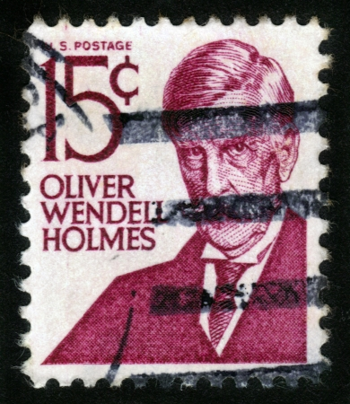 USA-CIRCA 1968: A stamp printed in USA shows portrait of Oliver Wendell Holmes, was an American physician, poet and writer, circa 1968. Stock Photo - 14326665