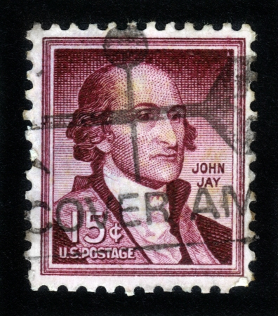 USA - CIRCA 1963: A stamp printed in the USA  shows image of John Jay , one of the Founding Fathers of the United States of America, 1st Chief Justice of the Supreme Court of the United States , circa 1963