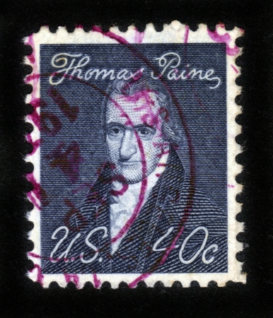 founding fathers: UNITED STATES OF AMERICA - CIRCA 1965: A stamp printed in the USA shows Thomas Paine -  author, pamphleteer, revolutionary, and one of Founding Fathers of US , CIRCA 1965