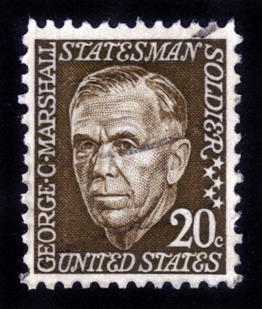 USA - CIRCA 1967: A stamp printed in USA shows portrait American military leader George Catlett Marshall, won the Nobel Peace Prize in 1953, circa 1967 Stock Photo - 14326666