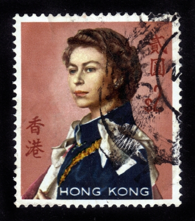 HONG KONG - CIRCA 1962: stamp printed by Hong Kong, shows portait of Queen Elizabeth II by Pietro Annigoni , circa 1962 Stock Photo - 14326671