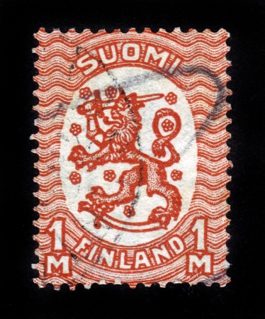 FINLAND - CIRCA 1929: stamp printed by Finland, shows Coat of arms of Finland, circa 1929 Stock Photo - 14388394