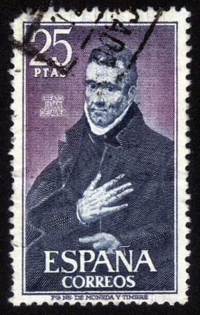 SPAIN-CIRCA 1980 A stamp printed in SPAIN shows image of the Saint John of Avila, Apostle of Andalusia  was a Spanish apostolic preacher, author, mystic and saint, canonized in 1970, circa 1980 Stock Photo - 14376599