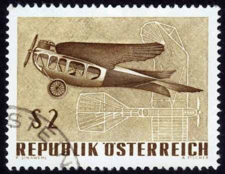 Austria - CIRCA 1968  A Stamp printed in Austria shows vintage aircraft and its drawing, International Exhibition of aircraft  IFA-1968 , circa 1968 photo