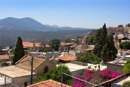 old Safed, Upper Galilee, Israel view of Mount Meron