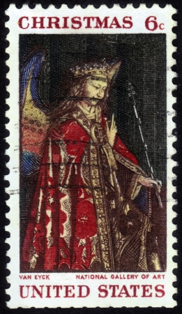 angel gabriel: UNITED STATES - CIRCA 1968: A stamp printed by United States of America shows Angel Gabriel from The Annunciation, Jan Van Eyck, Christmas series, circa 1968