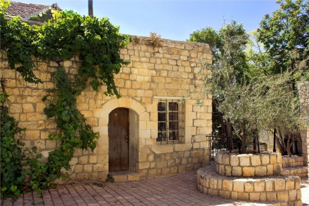 hasidic: old stone house in the Jewish religious quarter in Safed, Upper Galilee, Israel Editorial