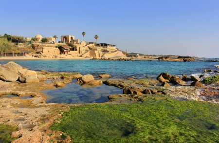 Mediterranean landscape, national park Achziv, view of the ruins of the old Turkish fortress, Israel Stock Photo - 14444759