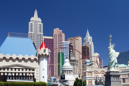 LAS VEGAS - May 29  New York-New York hotel casino creating the impressive New York City skyline with skyscraper towers and Statue of Liberty replica on May 29, 2012 in Las Vegas