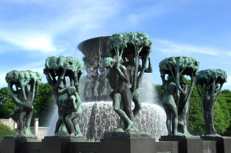 fountain in the sculpture park by Gustav Vigeland in Oslo in Norway