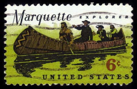 jesuit: USA - CIRCA 1968: A Stamp printed in USA shows a Father Marquette (1637-1675), French Jesuit missionary, and Louis Jolliet exploring the Mississippi, circa 1968 Stock Photo