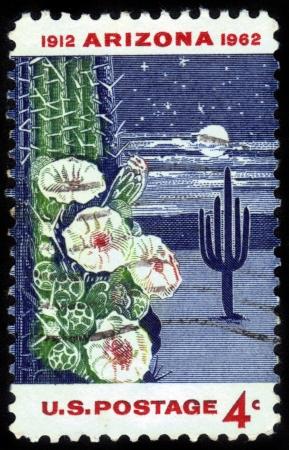 UNITED STATES - CIRCA 1962: stamp printed in United states, shows Giant Saguaro Cactus, dedicated to the 50th anniversary of Arizona Statehood, circa 1962 Stock Photo - 14602448