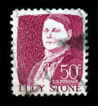 UNITED STATES OF AMERICA - CIRCA 1965: a stamp printed in the United States of America shows Lucy Stone, American abolitionist and suffragist, circa 1965