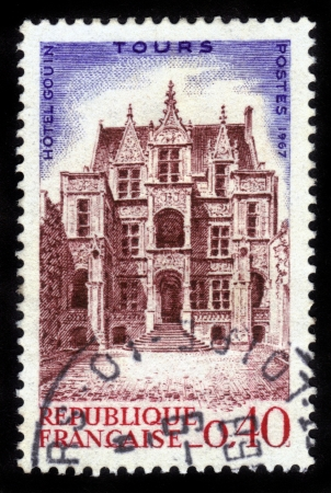FRANCE - CIRCA 1967  A stamp printed in France shows Hotel Gouin   1074; Tours, France, circa 1967 Stock Photo - 14616528
