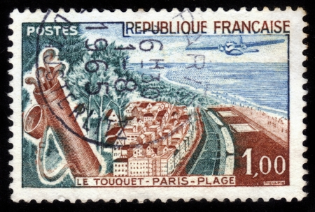 FRANCE - CIRCA 1965: A stamp printed in France shows Le Touquet-Paris-Plage , France, circa 1965 Stock Photo - 14616569