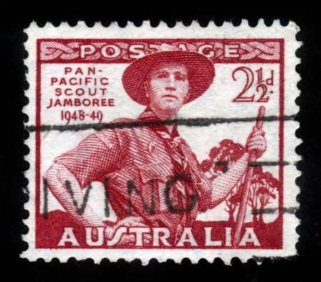AUSTRALIA-CIRCA 1949: A stamp printed in Australia, shows Pan-Pacific Scout Jamboree, Victoria, portrayed Scout in Uniform, circa 1949 Stock Photo - 14616565