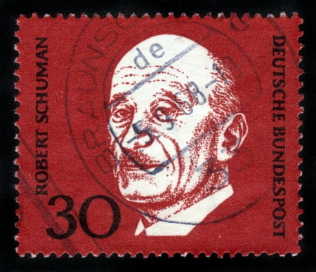 GERMANY - CIRCA 1968: A stamp printed in Germany shows Robert Schuman,  issued in honor of the Prime Minister of France , circa 1968 Stock Photo - 14720183