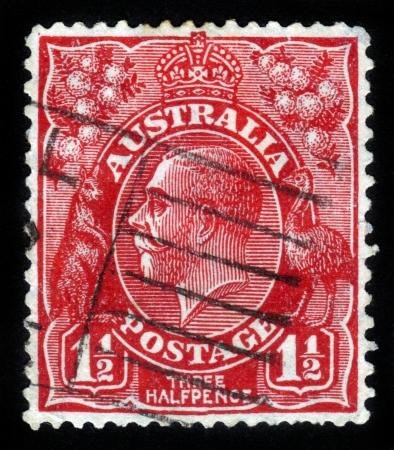 AUSTRALIA - CIRCA 1926  A stamp printed in the Australia shows image of King George V, circa 1926 Stock Photo - 14720181