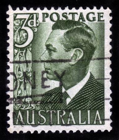 AUSTRALIA - CIRCA 1951  Stamp printed in Australia showing the portrait of King George VI, circa 1951  Stock Photo - 14720177