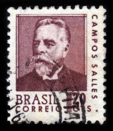 statesman: BRAZIL - CIRCA 1916  A stamp printed in Brazil shows president Dr Manuel Ferraz de Campos Salles, Brazilian statesman, lawyer, fourth president of Brazil  1898-1902  , circa 1916