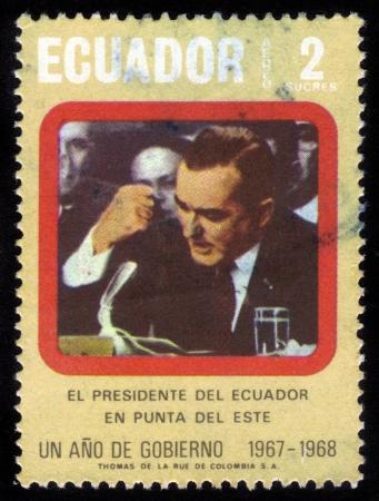 gomez: ECUADOR - CIRCA 1968  A stamp printed in Ecuador shows image of a Otto Arosemena GOMEZ, Ecuadorian statesman and politician, president of Ecuador  1966-1968  , circa 1968