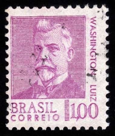 BRAZIL - CIRCA 1930  A stamp printed in Brazil shows  Washington Luiz Pereira de Souza , Brazilian politician, lawyer, was the last president of the Brazilian First Republic , circa 1930