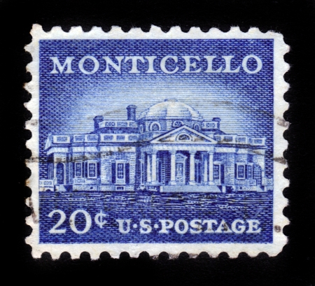 USA - CIRCA 1956  A Stamp printed in USA shows Monticello, the estate of Thomas Jefferson, 200th Anniversary, circa 1956 Stock Photo - 14720180
