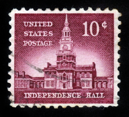 UNITED STATES OF AMERICA - CIRCA 1954  A stamp printed in USA shows Independence Hall, circa 1954