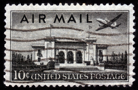 UNITED STATES OF AMERICA - CIRCA 1947  a stamp printed in the United States of America shows plane over Pan American Union Building, Washington, DC, circa 1947 Stock Photo - 14720188