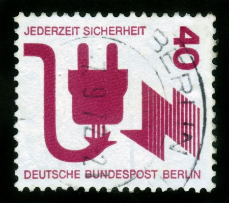 sicherheit: GERMANY - CIRCA 1972  A stamp printed in Germany, shows a defective plug , dedicated to Accident prevention , circa 1972